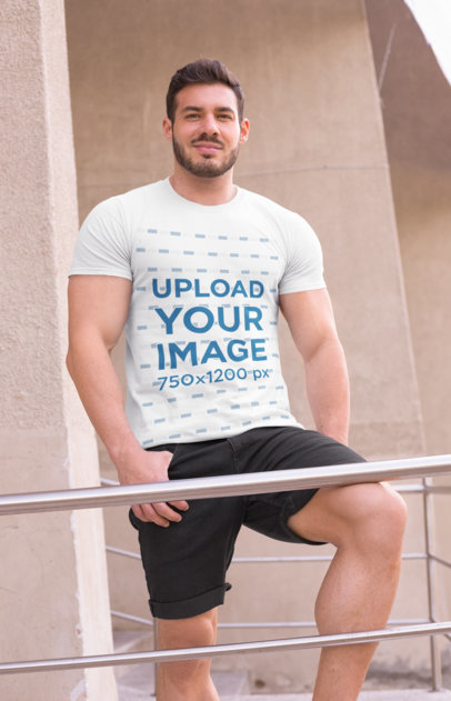 Mockup of a Fit Man Wearing a T-Shirt Outside  28524