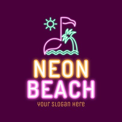 Beach Nightclub Logo Maker Featuring a Glowing Flamingo Clipart 2413d