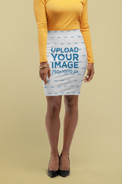 Pencil Skirt Mockup Featuring a Woman in Heels 28653