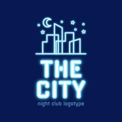Neon Nightclub Logo Creator Featuring a Nocturnal City Skyline 2413e
