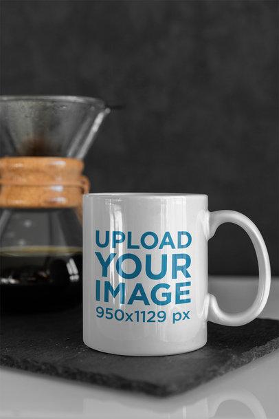 Mockup of an 11 Oz Mug Next to a Coffee Maker 407-el
