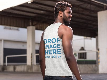 Mockup of the Back of a Man Wearing a Tank Top a9530b