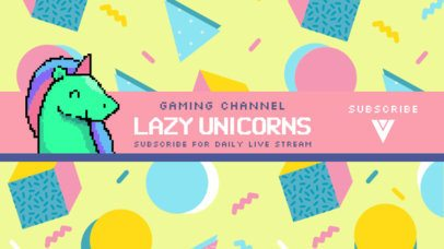 Gaming Channel YouTube Banner Maker Featuring an 8-Bit Unicorn 1704c
