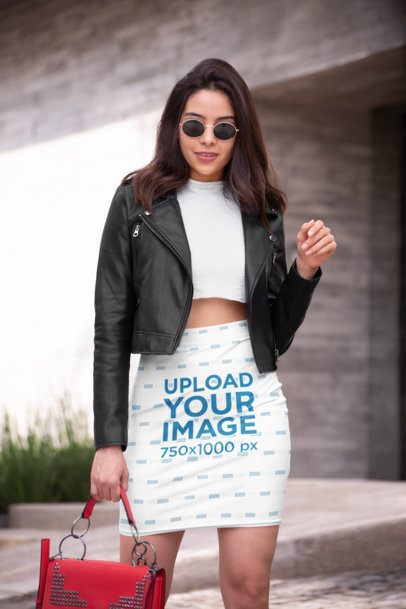 Pencil Skirt Mockup Featuring a Fashionable Woman with a Leather Jacket 28668