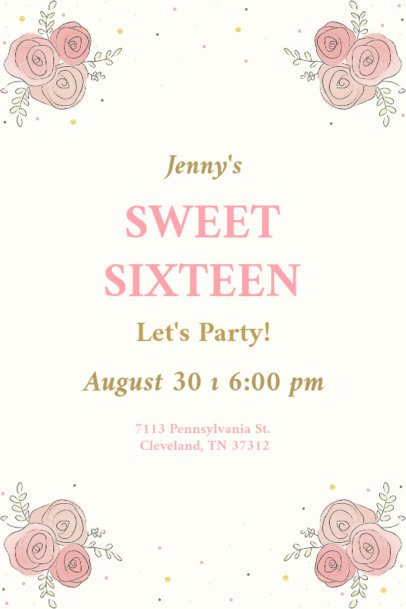 Invitation Design Template for a Sweet Sixteen Party 1685b