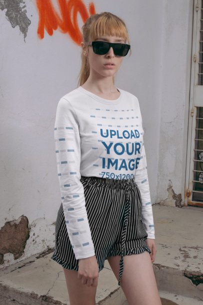Long Sleeve Tee Mockup Featuring a Serious Woman with Sunglasses 29052