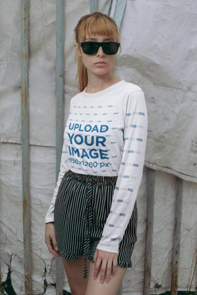 Mockup of a Woman Wearing a Long Sleeve Tee and Striped Shorts 29054
