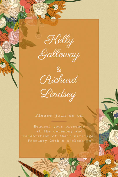 Wedding Invitation Maker with Illustrated Flowers 1683h