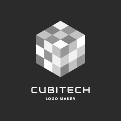 Tech Company Logo Template Featuring a Checkered Cube Illustration 2176j 2417