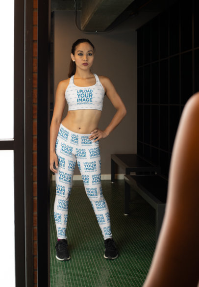 Sports Bra Mockup of a Woman with Leggings Looking in the Mirror 28696