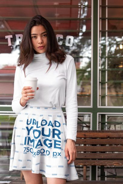 Skater Skirt Mockup of a Woman Holding a Coffee28666