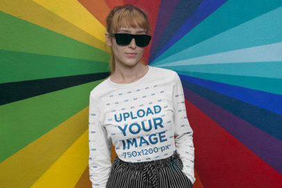Long Sleeve Mockup Featuring a Woman with Dark Sunglasses Against a Colorful Wall 29055