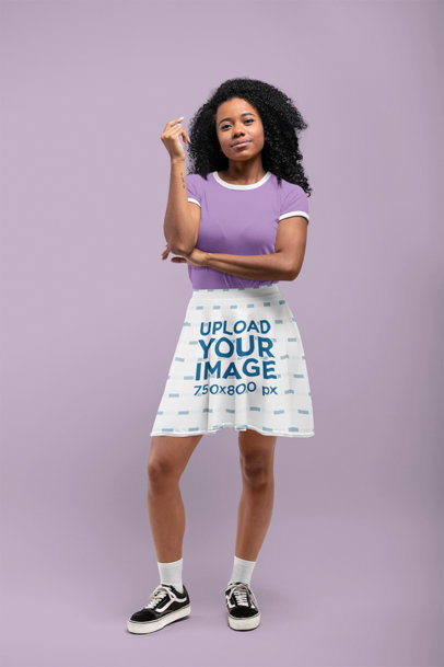 Skater Skirt Mockup of a Curly-Haired Woman at a Studio 28659