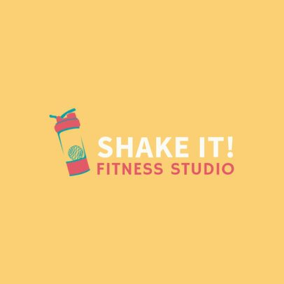 Fitness Studio Logo Maker with a Shaker Clipart 2456c