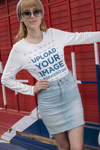 Long Sleeve T-Shirt Mockup of a Woman Wearing Sunglasses 29062