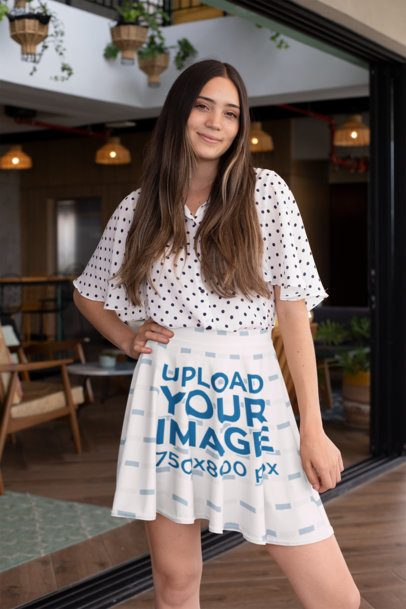 Mockup of a Woman in a Skater Skirt Posing in a Restaurant 28674