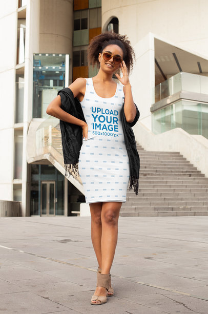 Racerback Dress Mockup Featuring a Fashionable Woman Walking on a Street 28780