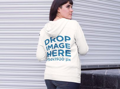 Mockup of the Back of Hoodie Featuring a Hipster Girl in a Street Market a9262wide