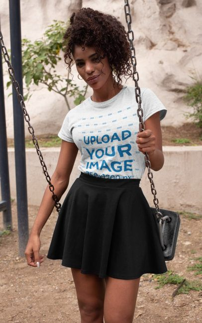 Mockup of a Heathered T-Shirt of a Woman on a Swing 28634