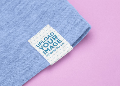 Clothing Label Mockup Featuring a Solid Color Background 29033