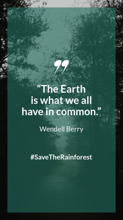 Awareness Instagram Story Maker with a Quote Urging to Save the Rainforest 597m 1739