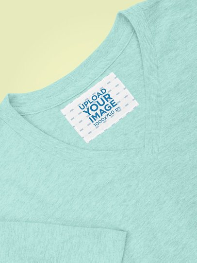 Mockup of a Clothing Label on a Heathered V-Neck T-Shirt 28974