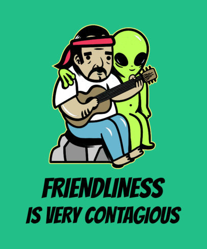 T-Shirt Design Template of Two Bizarre Friends 1716b