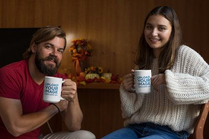 Mockup of a Couple Holding a 15 Oz Coffee Mug at Home 29150