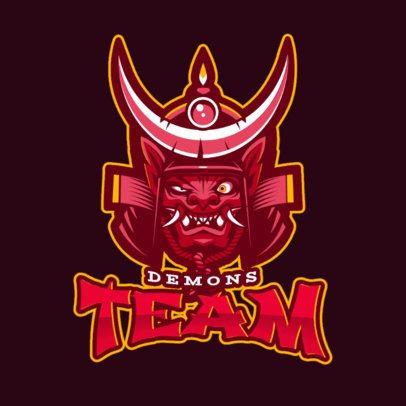 Gaming Logo Template Featuring a Bizarre Samurai Character 2455c