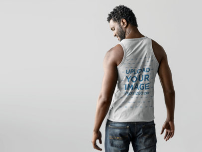 Back of a Black Man Wearing a Tank Top Mockup a9830b