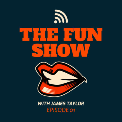 Fun Podcast Cover Template with a Smiling Mouth Illustration 1719g