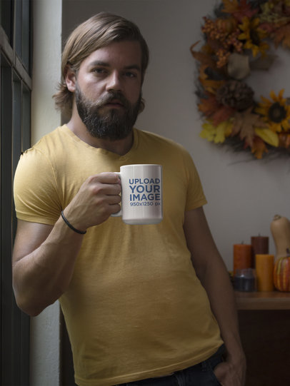 Mockup of a Bearded Man with a 15oz Coffee Mug 29139