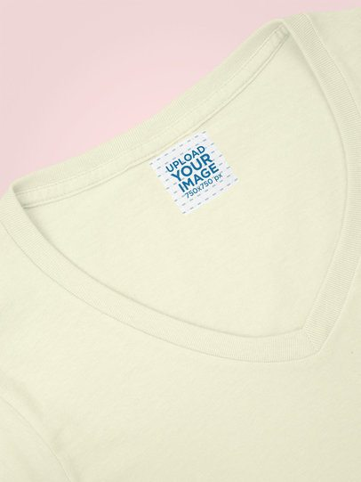 Mockup of a Small Clothing Label Attached to a V-Neck Tee 28968