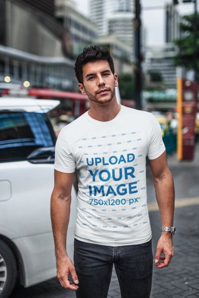 T-Shirt Mockup of a Stylish Man in a Crowded Street 438-el
