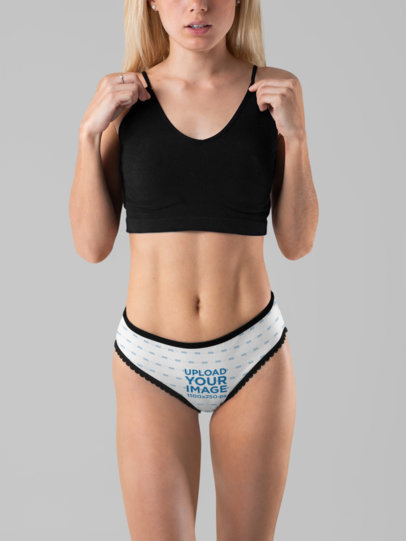 Underwear Mockup Featuring a Woman Wearing Panties at a Studio 29190