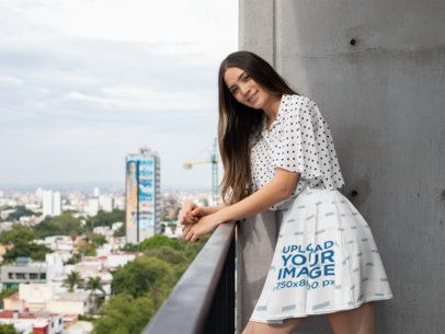 Skater Skirt Mockup Featuring a Woman on a Balcony 28679