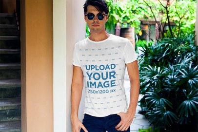 Mockup of a Chic Man Wearing a T-Shirt by Some Plants 507-el