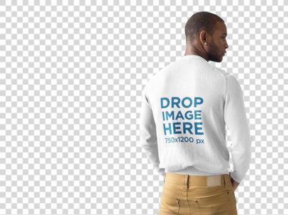 Back Shot of a Black Man Wearing a Crewneck Sweater Mockup at a Photo Studio a9816b