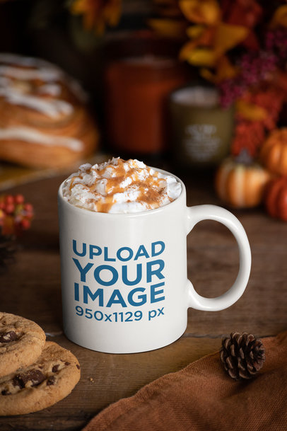 Mockup Featuring an 11 oz Coffee Mug Surrounded by Thanksgiving Decorations 29178