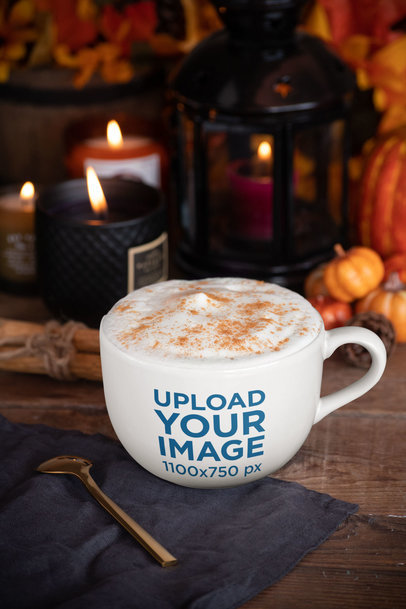 24 oz Mug Mockup with Thanksgiving Decorations in the Background 29169
