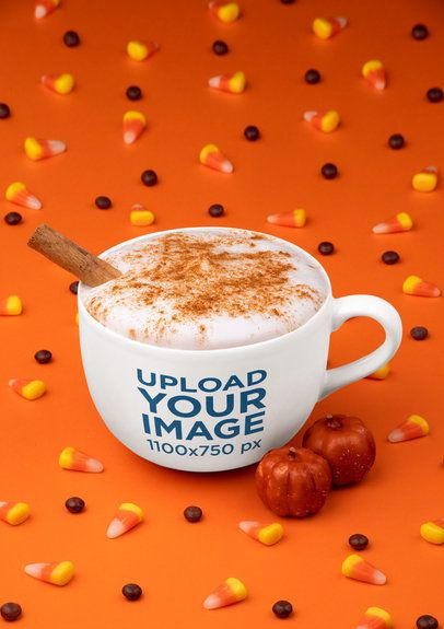 Mockup of a 24 oz Mug Surrounded by Halloween Candy 29191