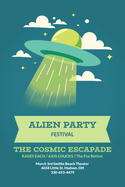 Party Poster Template with Outer Space Graphics 60d