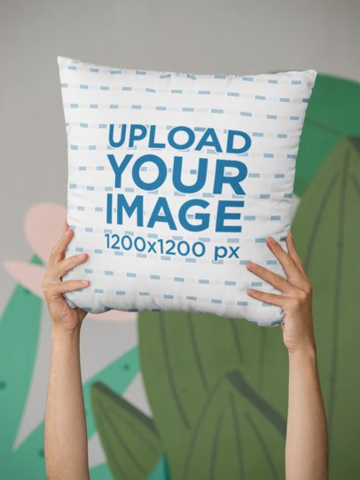 Mockup of Hands Holding a Square Pillow 29001