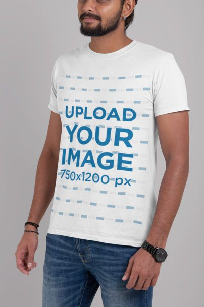 Mockup of a Bearded Man Wearing a T-Shirt Against a Plain Background 29101