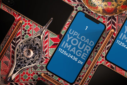 iPhone X Mockup Featuring an Arabic Setting 668-el