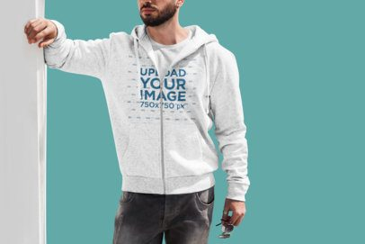 Full-Zip Hoodie Mockup of a Bearded Man Posing Against a Customizable Background 445-el
