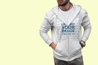 Heathered Hoodie Mockup of a Bearded Man in a Color-Custom Backdrop 448-el