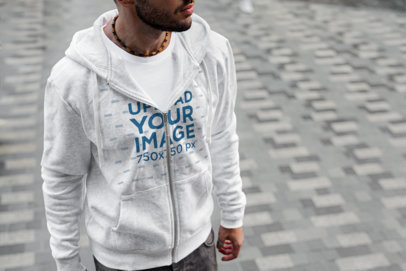 Heathered Full-Zip Hoodie Mockup Featuring a Bearded Man at a Street 446-el