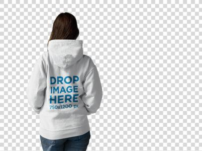 Back Shot of a Woman Wearing a Pullover Hoodie Mockup Facing a Transparent Surface a9943b