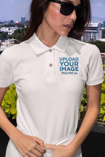 Polo Shirt Mockup of a Stylish Woman Posing Outside 28899